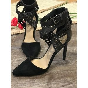 Joe's Black Heels Ankle Straps Leather Norman